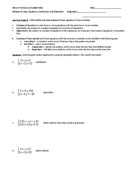 Solving Systems of Equations Algebraically Guided Notes