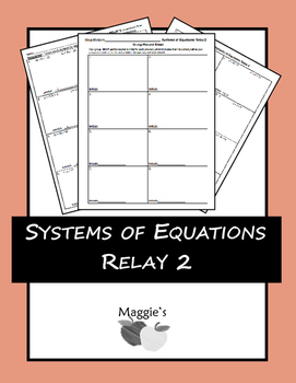 Solving Systems of Equations Algebraically Relay 2 (Game)