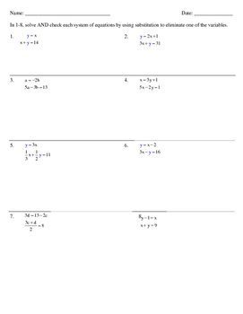Solving Systems of Equations Algebraically Using Substitution
