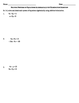 Solving Systems Of Equations Algebraically By Elimination Addition