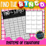 Solving Systems of Equations-Any Method Find the Bingo; Algebra 1