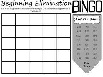 Solving Systems of Equations: Beginning Elimination BINGO; Algebra 1