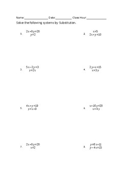 Solving Systems of Equations By Substitution Worksheet and Class ...