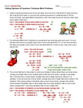 Solving Systems of Equations Christmas Word Problems(8.EE.C.8.C & H.S.A.REI.C.6)