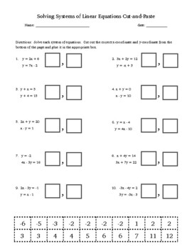 Solving Systems of Equations Cut and Paste
