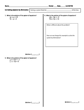 Solving Systems of Equations - Elimination Method