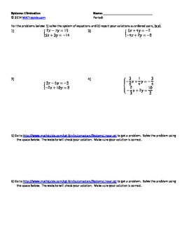 Solving Systems of Equations: Elimination Method