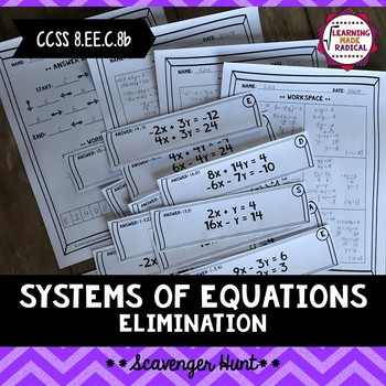 Systems of Equations- Elimination Scavenger Hunt Activity