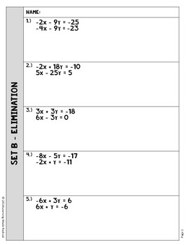 Systems of Equations- Elimination & Substitution Partner Activity