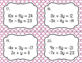 Solving Systems of Equations : Elimination Task Cards