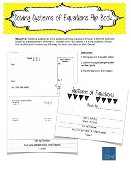 Solving Systems of Equations Flip Book