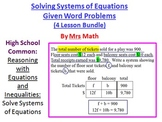 Solving Systems of Equations Given Word Problems Power Point 4-Lesson Pack