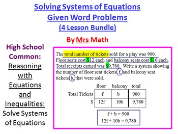 Solving Systems of Equations Given Word Problems Power Poi
