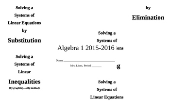 Solving Systems of Equations & Inequalities Review or Notes Foldable