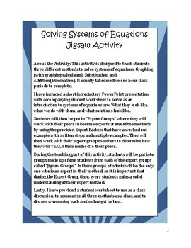 Solving Systems of Equations (All Methods) Activity - Jigsaw
