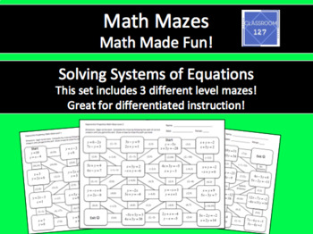 Solving Systems of Equations Math Maze