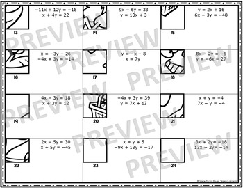 Solving Systems of Equations Mystery Drawing