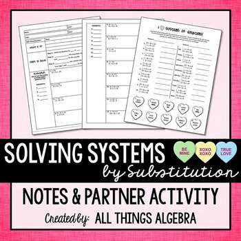 Systems of Equations Notes & Partner Coloring Activity (Substitution Method)