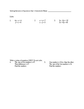 Solving Systems of Equations Notes and Homework