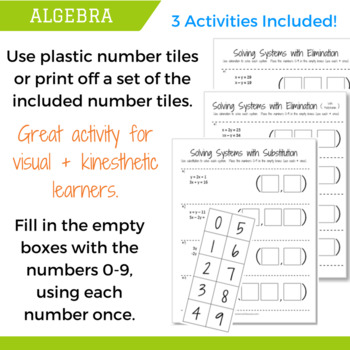 Solving Systems of Equations Number Tiles Activity