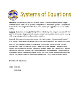 Solving Systems of Equations Partner Swap Activity
