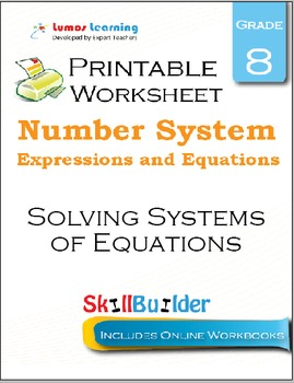 Solving Systems of Equations Printable Worksheet, Grade 8