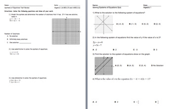 Solving Systems of Equations Quiz and Review