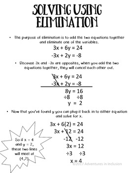 Solving Systems of Equations Reference Sheets/Cheat Sheets
