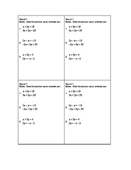 Solving Systems of Equations Review Activity