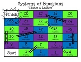 "Solving Systems of Equations Review Game (""Chutes & Ladders"")"
