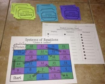 """Solving Systems of Equations Review Game (""""Chutes & Ladders"""")"""