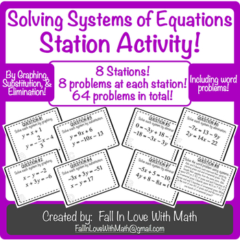 Solving Systems of Equations Station Activity!