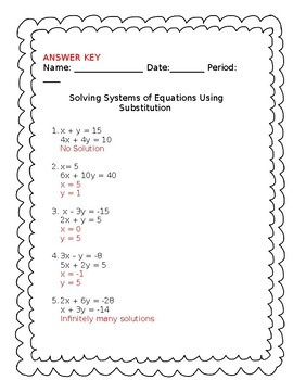 Solving Systems of Equations-Substitution