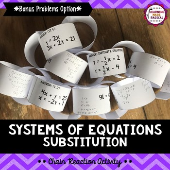 Systems of Equations Substitution Chain Reaction Activity