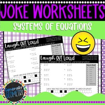 Solving Systems of Equations: Substitution & Elimination-2 Joke Worksheets