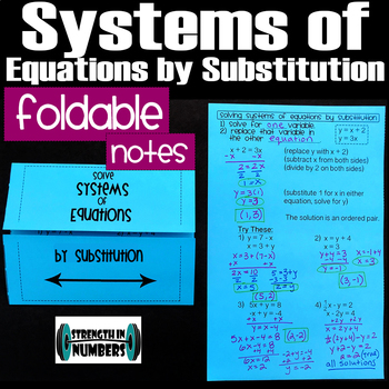 Solving Systems of Equations Substitution Foldable Notes Interactive Notebook
