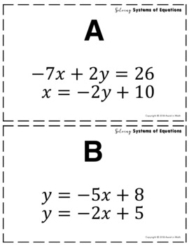 Solving Systems of Equations Task Cards Activity