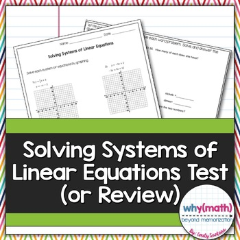 Solving Systems of Equations Test (Or Review!)