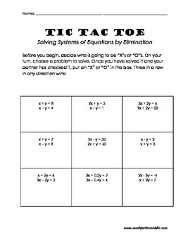 Solving Systems of Equations Tic Tac Toe
