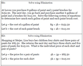 Solving Systems of Equations Unit Review - Buckets Activity