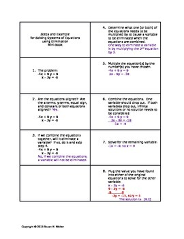Solving Systems of Equations Using Elimination Booklet