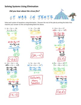 Solving Systems of Equations Using Elimination Joke Worksheet #2 with Answer Key