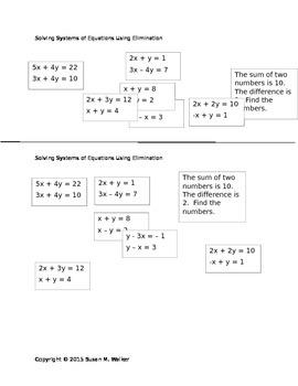 Solving Systems of Equations Using Elimination Problem Splash