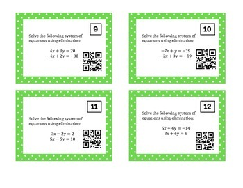 Solving Systems of Equations Using Elimination Task Cards w/ QR Codes
