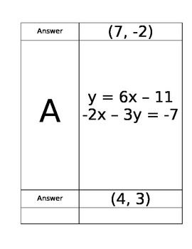 Solving Systems of Equations Using Substitution Scavenger Hunt Activity