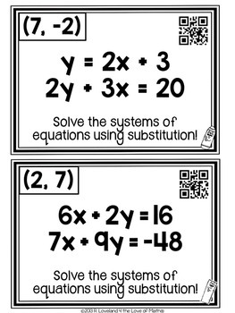 Solving Systems of Equations Using Substitution: Scavenger Hunt