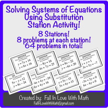 Solving Systems of Equations Using Substitution Station Activity!