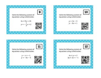 Solving Systems of Equations Using Substitution Task Cards w/ QR Codes