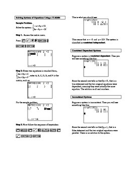 Solving Systems of Equations Using a TI-83/84
