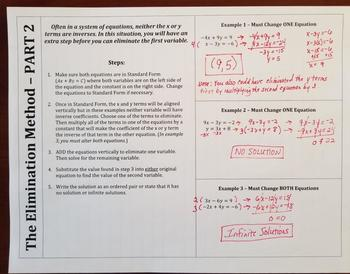 Solving Systems of Equations Using the Elimination Method - PART 2